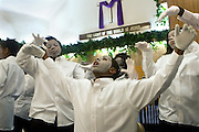 "Students perform as mimes during a ""youth explosion"" at St. James Church on the east side of Youngstown."
