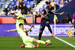March 14, 2018 - Paris, France, France - Kylian Mbappe (PSG) vs SANTAMARIA Baptiste (Angers) / COULIBALY Lassana  (Credit Image: © Panoramic via ZUMA Press)