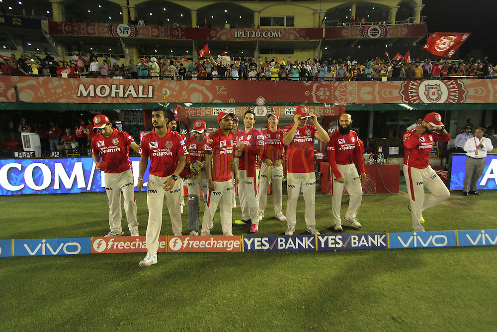 Kings XI Punjab players entring the field during match 39 of the Vivo Indian Premier League ( IPL ) 2016 between the Kings XI Punjab and the Royal Challengers Bangalore held at the IS Bindra Stadium, Mohali, India on the 9th May 2016<br /> <br /> Photo by Arjun Singh / IPL/ SPORTZPICS
