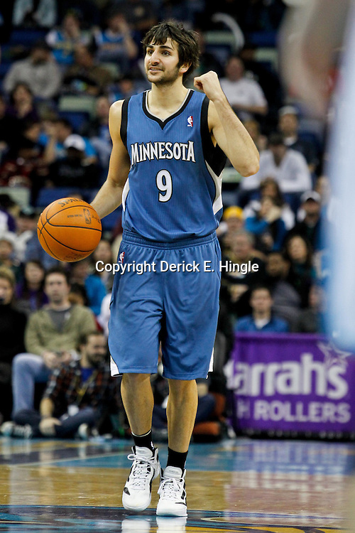 January 13, 2012; New Orleans, LA, USA; Minnesota Timberwolves point guard Ricky Rubio (9) against the New Orleans Hornets during the second half of a game at the New Orleans Arena. The Timberwolves defeated the Hornets 87-80.  Mandatory Credit: Derick E. Hingle-US PRESSWIRE