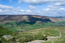 Edale and Hope Valley from The Great Ridge just beyond Mam Tor heading towards Back Tor and Losehill<br />