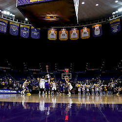 Mar 26, 2013; Baton Rouge, LA, USA; A general view of the opening tip between the LSU Tigers and the Green Bay Phoenix during the second round of the 2013 NCAA womens basketball tournament at Pete Maravich Assembly Center. Mandatory Credit: Derick E. Hingle-USA TODAY Sports