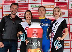 11.07.2019, Kitzbühel, AUT, Ö-Tour, Österreich Radrundfahrt, Siegerehrung der 5. Etappe, von Bruck an der Glocknerstraße nach Kitzbühel (161,9 km), im Bild Vadim Pronskiy (KAZ, Vino - Astana Motors) mit der Teekanne Fresh Startnummer des besten Jungprofis // Vadim Pronskiy of Kazakhstan (Vino - Astana Motors) with the Teekanne Fresh starting number for the best young rider during the winner ceremony of the 5th stage from Bruck an der Glocknerstraße to Kitzbühel (161,9 km) of the 2019 Tour of Austria. Kitzbühel, Austria on 2019/07/11. EXPA Pictures © 2019, PhotoCredit: EXPA/ Reinhard Eisenbauer