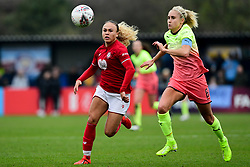 Ebony Salmon of Bristol City is chased by Steph Houghton of Manchester City Women  - Mandatory by-line: Ryan Hiscott/JMP - 24/11/2019 - FOOTBALL - Stoke Gifford Stadium - Bristol, England - Bristol City Women v Manchester City Women - Barclays FA Women's Super League