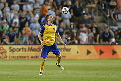 May 5, 2018 - Kansas City, KS, U.S. - KANSAS Kansas City, KS - MAY 05: Colorado Rapids defender Danny Wilson (4) prepares to take a high ball in the second half of an MLS match between the Colorado Rapids and Sporting Kansas City on May 5, 2018 at Children's Mercy Park in Kansas City, KS.  Sporting KC won 1-0. (Photo by Scott Winters/Icon Sportswire) (Credit Image: © Scott Winters/Icon SMI via ZUMA Press)
