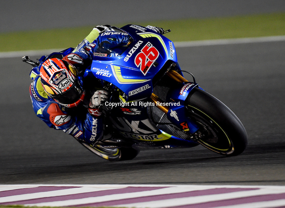 19.03.2016. Losail International Circuit, Doha, Qatar.Commercial Bank Grand Prix of Qatar. Maverick Vinales (Suzuki ecstar) in 3rd place during the qualifying sessions.