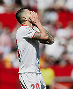 Vitolo of Sevilla FC reacts during the Spanish championship Liga football match between Sevilla FC and Sporting Gijon on April 2, 2017 at Sanchez Pizjuan stadium in Sevilla, Spain - photo Cristobal Duenas / Spain / ProSportsImages / DPPI