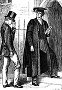 Thomas Arnold (1795-1842) British educationalist and scholar, headmaster of Rugby School, speaking to one of the schoolboys. Depiction from 1869 edition of Thomas Hughes 'Tom Brown's Schooldays'