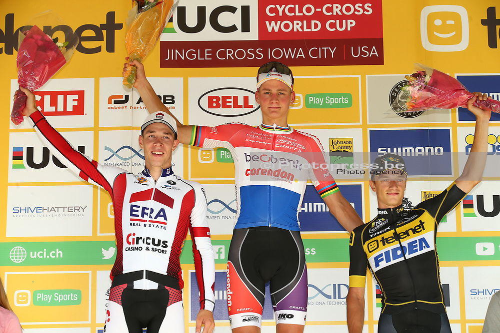 USA / VS / AMERIKA / IOWA CITY / CYCLOCROSS / VELDRIJDEN / CYCLO CROSS / CX / JINGLE CROSS IOWA CITY / TELENET WORLD CUP / #1 / MEN / PODIUM / CEREMONIE / HULDIGING / (L-R) LAURENS SWEECK (BEL - ERA - CIRCUS) / MATHIEU VAN DER POEL (NED - BEOBANK - CORENDON) / QUINTEN HERMANS (BEL - TELENET FIDEA LIONS) / <br /> <br /> PUBLICATION IN BELGIAN NEWSPAPERS iS NOT ALLOWED