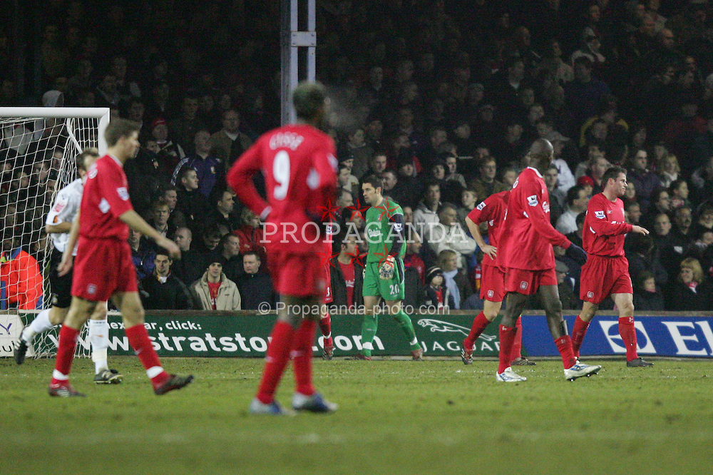 LUTON, ENGLAND - SATURDAY, JANUARY 7th, 2006: Liverpool's goalkeeper Scott Carson and team-mates look dejected after conceding the opening goal during the FA Cup 3rd Round match at Kenilworth Road. (Pic by David Rawcliffe/Propaganda)