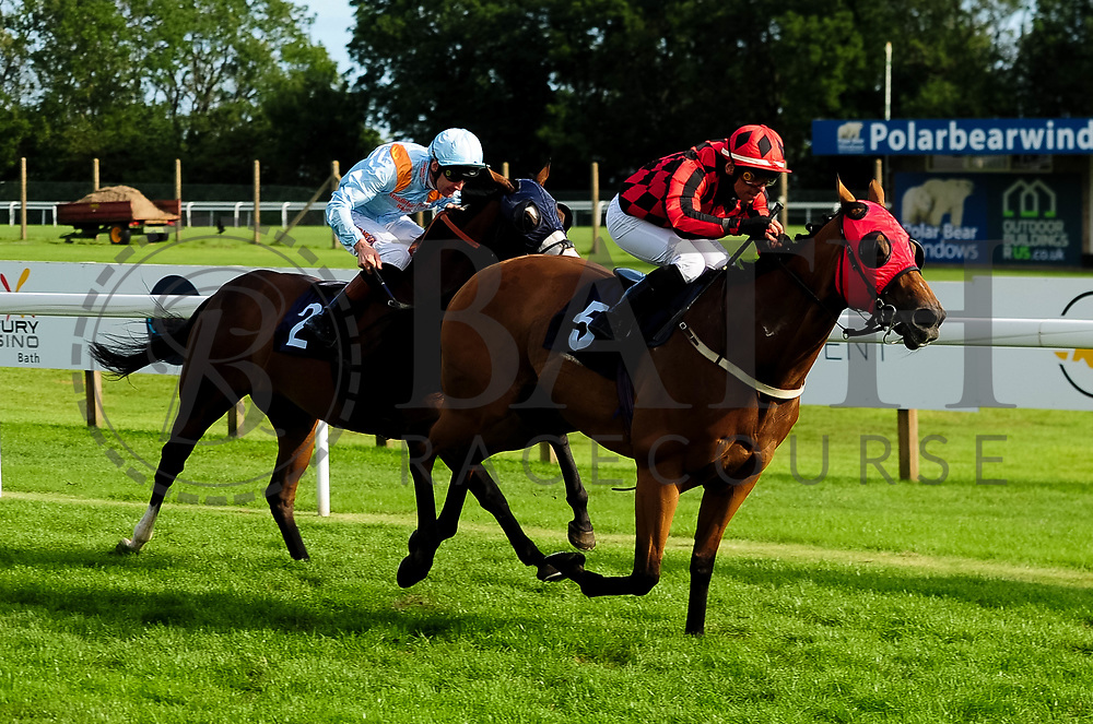 Naadir ridden by Dougie Costello and trained by Kevin Ryan in the University And Literary Club Veterans' Handicap race. Union Rose ridden by Raul Da Silva and trained by Ronald Harris in the University And Literary Club Veterans' Handicap race. - Ryan Hiscott/JMP - 21/08/2019 - PR - Bath Racecourse - Bath, England - Race Meeting at Bath Racecourse