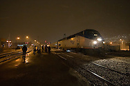 Amtrak train 305, bound for St. Louis, is pulling in to make its stop at Joliet, IL during a winter snow squall.
