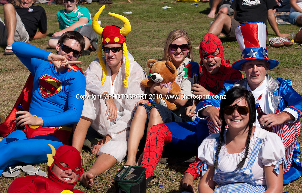 Super hero costumed fans in crowd during day one of the 2nd cricket test match between NZ Black Caps and Australia, at Seddon Park, Hamilton, 27 March 2010. Photo: Stephen Barker/PHOTOSPORT