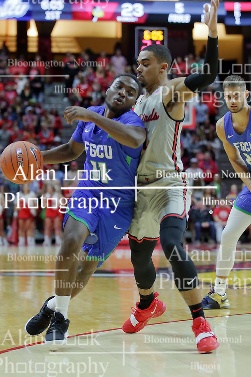 NORMAL, IL - November 06: Josh Jefferson attempts ot hold off ball handler Schadrac Casimir during a college basketball game between the ISU Redbirds  and the Florida Gulf Coast Eagles on November 06 2018 at Redbird Arena in Normal, IL. (Photo by Alan Look)