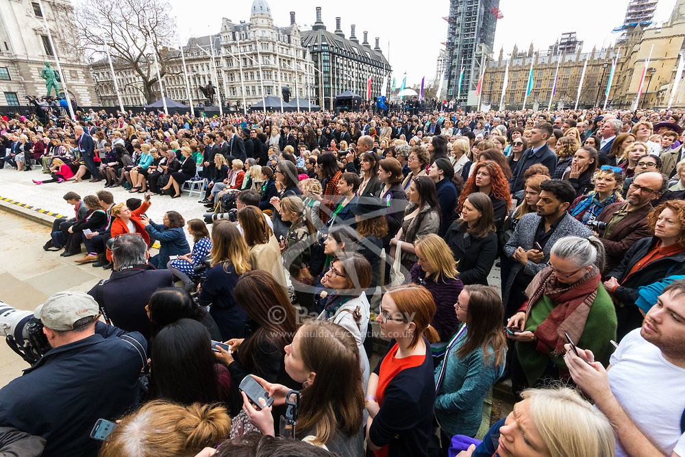 A statue designed by Turner Prize-winning artist Gillian Wearing OBE of suffragist leader Millicent Fawcett is unveiled in Parliament Square by XXXX. The sculpture is the first-ever monument to a woman and the first designed by a woman to stand within the square and follows the successful campaign by feminist campaigner Caroline Criado-Perez who organised an 85,000 signature petition. London, April 24 2018.