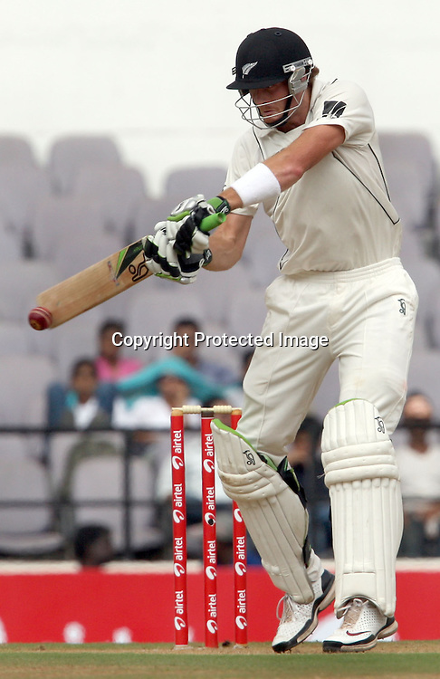 New Zealand batsman Martin Guptill plays a shot during 3rd test match India vs New Zealand  Played at Vidarbha Cricket Association Stadium, Jamtha, Nagpur, 20, November 2010 (5-day match)