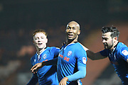 GOAL Calvin Andrew celebrates scoring 1-0  during the EFL Sky Bet League 1 match between Rochdale and Walsall at Spotland, Rochdale, England on 23 December 2017. Photo by Daniel Youngs.