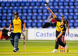 Marchant de Lange of Glamorgan in action today <br /> <br /> Photographer Simon King/Replay Images<br /> <br /> Vitality Blast T20 - Round 8 - Glamorgan v Essex - Friday 9th August 2019 - Sophia Gardens - Cardiff<br /> <br /> World Copyright © Replay Images . All rights reserved. info@replayimages.co.uk - http://replayimages.co.uk