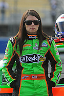 Feb. 20, 2010; Fontana, CA, USA; NASCAR Nationwide Series driver Danica Patrick during qualifying at the Slaters Brothers 300 at Auto Club Speedway. Mandatory Credit: Jennifer Stewart-US PRESSWIRE
