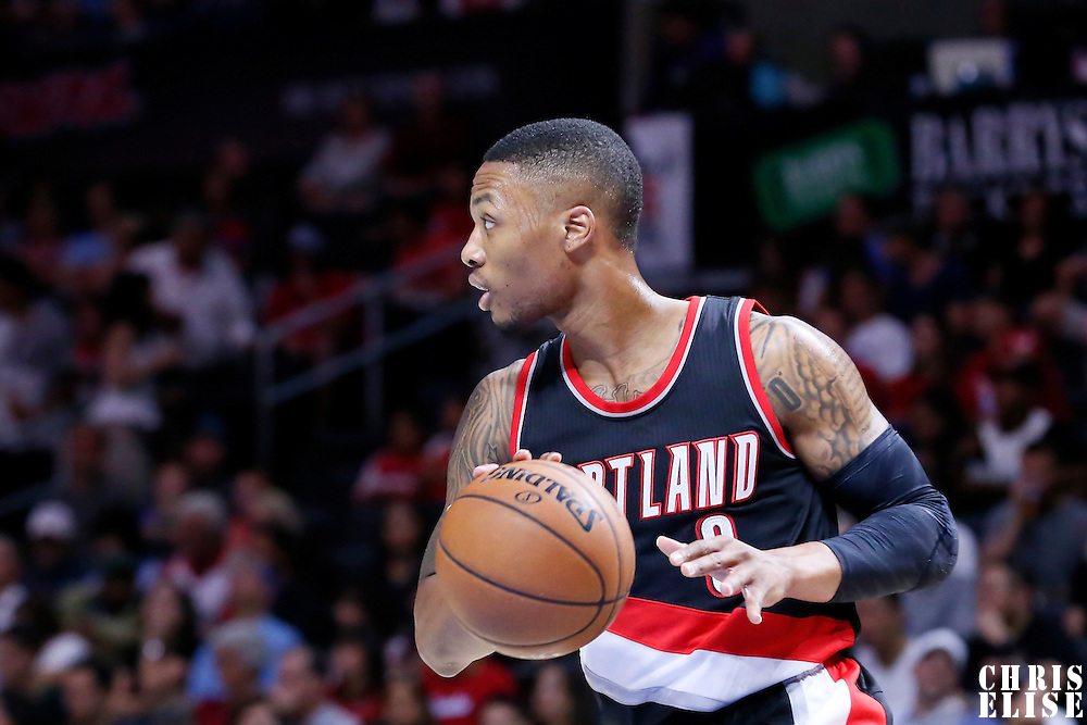 08 November 2014: Portland Trail Blazers guard Damian Lillard (0) brings the ball up court during the Los Angeles Clippers 106-102 victory over the Portland Trail Blazers, at the Staples Center, Los Angeles, California, USA.