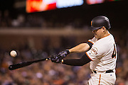 San Francisco Giants starting pitcher Matt Moore (45) swings at a pitch against the Colorado Rockies at AT&T Park in San Francisco, Calif., on September 27, 2016. (Stan Olszewski/Special to S.F. Examiner)
