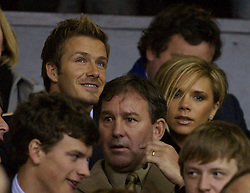 Manchester, England - Tuesday, March 13, 2007:  Former Manchester United player David Beckham with his wife Victoria, in the stands before the UEFA Celebration Match between Manchester United and a Europe XI at Old Trafford. (Pic by David Rawcliffe/Propaganda)
