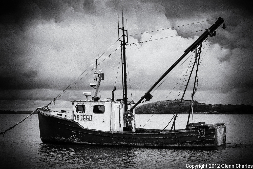 A bit of vintage Film Noir look to add some drama to the scene and this old fishing boat