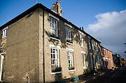 Historic terraced housing from eighteenth and nineteenth century, St John's Street, Woodbridge, Suffolk, England