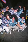Group of boys inn fancy clothes and wearing wigs. Ibiza, 2006