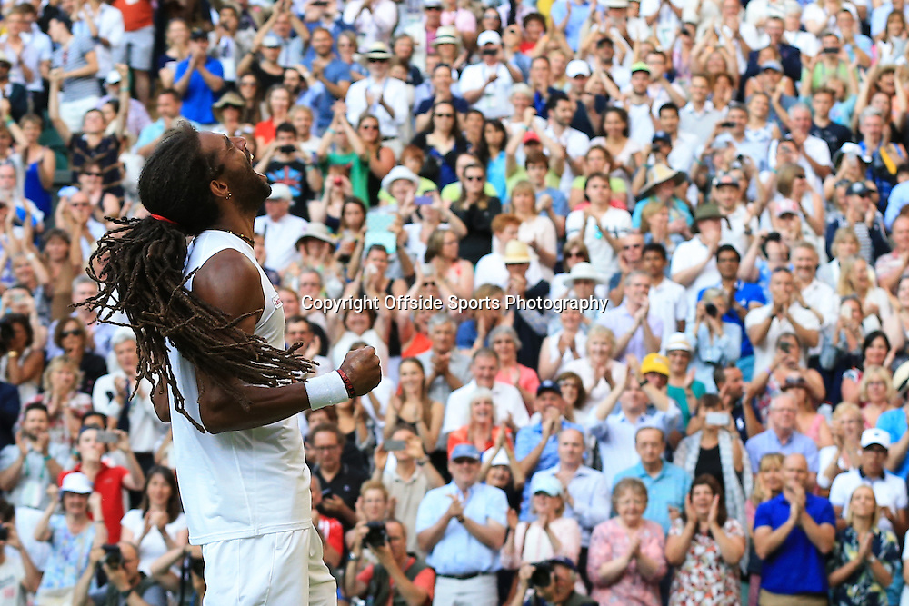 2 July 2015 - Wimbledon Tennis (Day 4) - Dustin Brown (GER) reacts after defeating Rafael Nadel (ESP) - Photo: Marc Atkins / Offside.