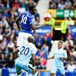 Everton's Romelu Lukaku beats Eliaquim Mangala of Manchester City to a header - Mandatory byline: Matt McNulty/JMP - 07966386802 - 23/08/2015 - FOOTBALL - Goodison Park -Everton,England - Everton v Manchester City - Barclays Premier League