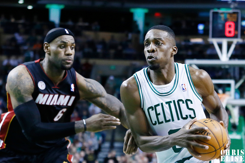 27 January 2013: Boston Celtics power forward Jeff Green (8) drives past Miami Heat small forward LeBron James (6) during the Boston Celtics 100-98  2OT victory over the Miami Heat at the TD Garden, Boston, Massachusetts, USA.