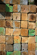 wood squares with year rings