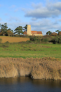 Ramsholt church landscape, Suffolk, England, UK