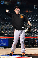 PHOENIX, AZ - APRIL 06:  Bruce Bochy #15 of the San Francisco Giants plays catch on the field prior to the game against the Arizona Diamondbacks at Chase Field on April 6, 2017 in Phoenix, Arizona.  The Arizona Diamondbacks won 9-3.  (Photo by Jennifer Stewart/Getty Images)