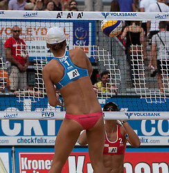 04.08.2011, Klagenfurt, Strandbad, AUT, Beachvolleyball World Tour Grand Slam 2011, im Bild Lauren Fredrick USA, Barbara Hansel AUT , EXPA Pictures © 2011, PhotoCredit EXPA Gert Steinthaler