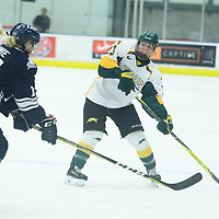 3rd year defence man Tamara McVannel (23) of the Regina Cougars in action during the Women's Hockey home game on October 14 at Co-operators arena. Credit: Arthur Ward/Arthur Images