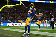 LA Rams Wide Receiver Josh Reynolds (83) scores a touchdown and celebrates during the International Series match between Los Angeles Rams and Cincinnati Bengals at Wembley Stadium, London, England on 27 October 2019.
