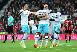 Michail Antonio of West Ham United celebrates his goal with Andy Carroll of West Ham United. - Mandatory by-line: Alex James/JMP - 11/03/2017 - FOOTBALL - Vitality Stadium - Bournemouth, England - Bournemouth v West Ham United - Premier League