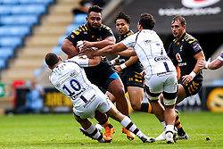 Sione Vailanu of Wasps is tackled by Duncan Weir of Worcester Warriors - Mandatory by-line: Robbie Stephenson/JMP - 12/10/2019 - RUGBY - Ricoh Arena - Coventry, England - Wasps v Worcester Warriors - Premiership Rugby Cup