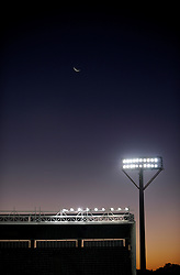 Floodlights set against a sunset in The Free State Stadium, also known as Vodacom Park, is a stadium in Bloemfontein, South Africa. A venue for the FIFA Confederations Cup South Africa 2009 tournament and the FIFA 2010 South Africa World Cup.