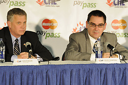 CHL Vice-Presidents Ron Robison (left) of the WHL and Gilles Courteau of the QMJHL at the Canadian Hockey League media conference at the MasterCard Memorial Cup in Brandon, MB on Friday. Photo by Aaron Bell/CHL Images