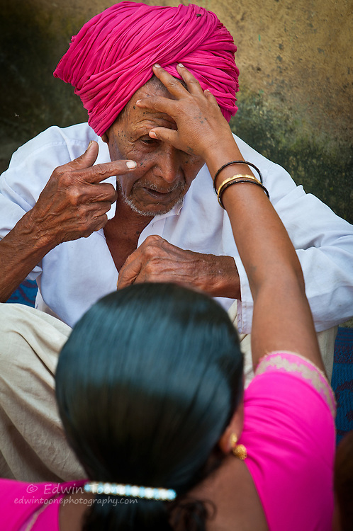 The VHW has been trained to recognize cataracts and will refer her patients to the doctor at the hospital if an operation is warranted.