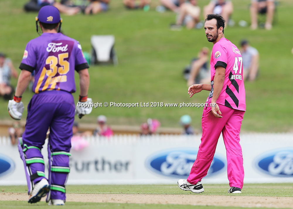 Knights Daryl Mitchell stares down Kings Leo Carter during the Burger King Super Smash Twenty20 cricket match Knights v Kings played at Seddon Park, Hamilton, New Zealand on Sunday 14 January 2018.<br /> <br /> Copyright photo: &copy; Bruce Lim / www.photosport.nz