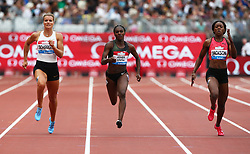 July 22, 2018 - London, United Kingdom - L-R Dafne Schippers of Netherlands Dina Asher-Smith of Great Britain and Northern Ireland Shericka Jackson of Jamaica  compete in the 200m Women .during the Muller Anniversary Games IAAF Diamond League Day Two at The London Stadium on July 22, 2018 in London, England. (Credit Image: © Action Foto Sport/NurPhoto via ZUMA Press)