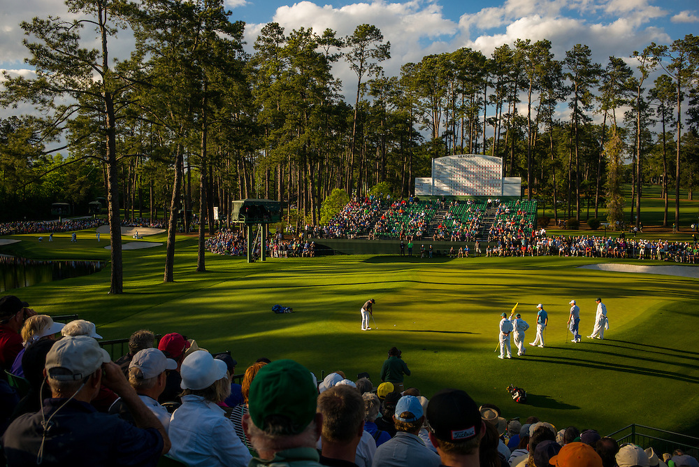 Rpry McIlroy, 15th green, 2016 Masters Tournament, first round. Augusta National Golf Club, Augusta, Georgia. Thursday, April 6 2016. Photograph © 2016 Darren Carroll