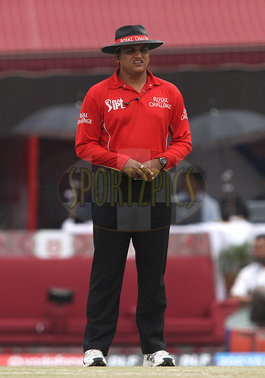 Umpire Vineet Kulkarni during match 66 of the the Indian Premier League (IPL) 2012  between The Kings X1 Punjab and The Chennai Superkings held at the HPCA Stadium, Dharamsala, on the 17th May 2012..Photo by Shaun Roy/IPL/SPORTZPICS