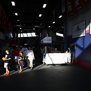 Fans arrive in the late evening light for the New Britain Rock Cats Vs Binghamton Mets Minor League Baseball game at New Britain Stadium, New Britain, Connecticut, USA. 2nd July 2014. Photo Tim Clayton