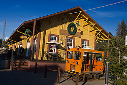 Mining and railroad equipment outside of Colfax Junction railroad station, Colfax, California, United States of America