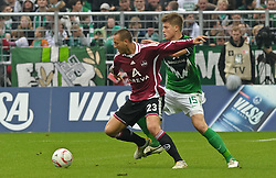30.10.2010, Weserstadion, Bremen, GER, 1. FBL, Werder Bremen vs 1. FC Nürnberg / Nuernberg, im Bild Julian Schieber (Nuernberg #23), Sebastian Prödl / Proedl (Bremen #15)   EXPA Pictures © 2010, PhotoCredit: EXPA/ nph/  Frisch+++++ ATTENTION - OUT OF GER +++++